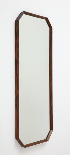 Italian 1960s Rosewood Octagonal Wall Mirror - 2096666
