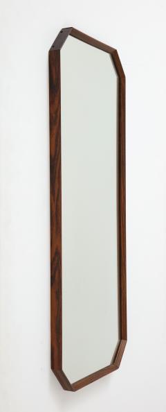 Italian 1960s Rosewood Octagonal Wall Mirror - 2096668