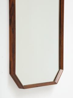 Italian 1960s Rosewood Octagonal Wall Mirror - 2096670