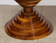 Italian 1970s Walnut Circular Dining Table with Marble Top - 2093307
