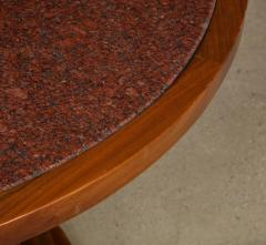 Italian 1970s Walnut Circular Dining Table with Marble Top - 2093308