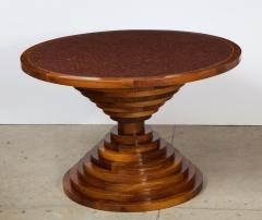 Italian 1970s Walnut Circular Dining Table with Marble Top - 2093309