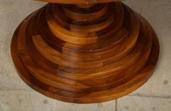 Italian 1970s Walnut Circular Dining Table with Marble Top - 2093310
