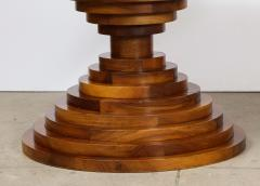 Italian 1970s Walnut Circular Dining Table with Marble Top - 2093313