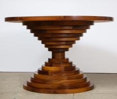 Italian 1970s Walnut Circular Dining Table with Marble Top - 2093314