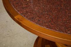 Italian 1970s Walnut Circular Dining Table with Marble Top - 2093316