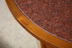 Italian 1970s Walnut Circular Dining Table with Marble Top - 2093318