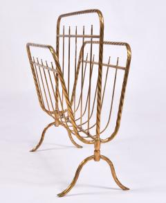 Italian 1970s brass magazine rack - 1495543