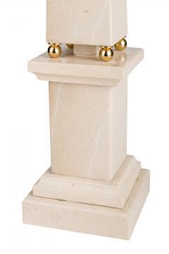 Italian 20th Century Pair of Cream Marble Obelisks with Gold Bronze Spheres - 1857391