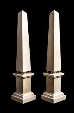 Italian 20th Century Pair of Cream Marble Obelisks with Gold Bronze Spheres - 1857392