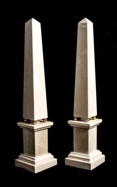 Italian 20th Century Pair of Cream Marble Obelisks with Gold Bronze Spheres - 1857394