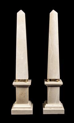 Italian 20th Century Pair of Cream Marble Obelisks with Gold Bronze Spheres - 1857396