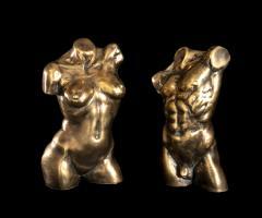 Italian 21th Century Pair of Gold Bronze Torso Busts - 1882309
