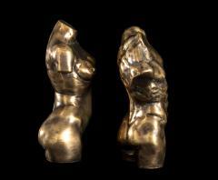 Italian 21th Century Pair of Gold Bronze Torso Busts - 1882312
