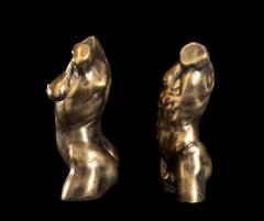 Italian 21th Century Pair of Gold Bronze Torso Busts - 1882313