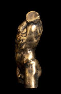 Italian 21th Century Pair of Gold Bronze Torso Busts - 1882314