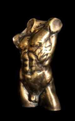 Italian 21th Century Pair of Gold Bronze Torso Busts - 1882315