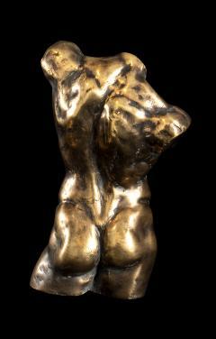 Italian 21th Century Pair of Gold Bronze Torso Busts - 1882317