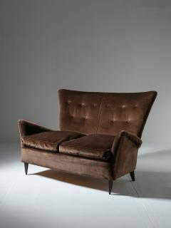Italian 50s Velvet Settee - 1457238