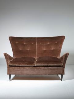 Italian 50s Velvet Settee - 1457239