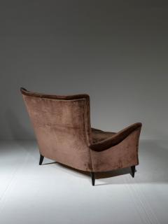 Italian 50s Velvet Settee - 1457240