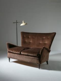 Italian 50s Velvet Settee - 1457244