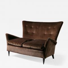 Italian 50s Velvet Settee - 1457404