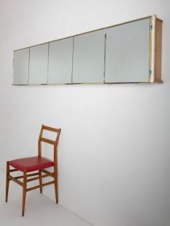 Italian 60s Wall Mounted Cabinet with 5 Mirrored Doors - 1186728