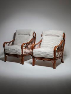 Italian 60s Wicker Lounge Chairs - 1502075
