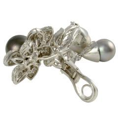 Italian 7 40 CTW Diamond and Tahitian Pearl Earrings - 2072926