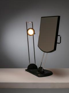 Italian 80s Articulated Desk Mirror with Lamp - 1205286