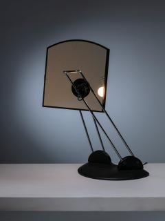 Italian 80s Articulated Desk Mirror with Lamp - 1205287