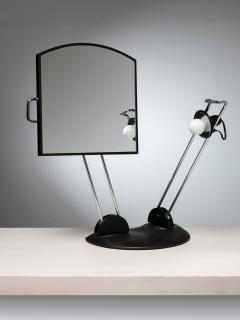 Italian 80s Articulated Desk Mirror with Lamp - 1205289