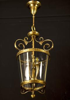 Italian Art Deco Brass Lantern or Pendant 1940s - 1995931
