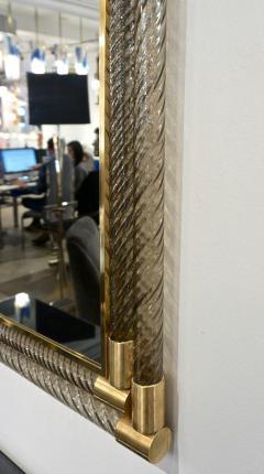 Italian Art Deco Design Twisted Gray Smoked Murano Glass Gold Brass Mirror - 1958640