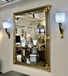 Italian Art Deco Design Twisted Gray Smoked Murano Glass Gold Brass Mirror - 1958641