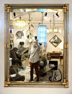 Italian Art Deco Design Twisted Gray Smoked Murano Glass Gold Brass Mirror - 1958643