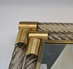 Italian Art Deco Design Twisted Gray Smoked Murano Glass Gold Brass Mirror - 1958645