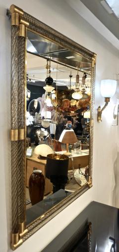 Italian Art Deco Design Twisted Gray Smoked Murano Glass Gold Brass Mirror - 1958647