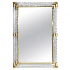 Italian Art Deco Design Twisted Gray Smoked Murano Glass Gold Brass Mirror - 1958656