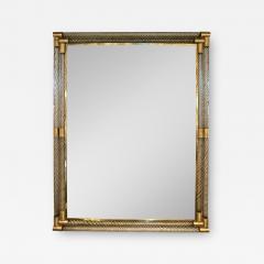 Italian Art Deco Design Twisted Gray Smoked Murano Glass Gold Brass Mirror - 1959848