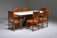 Italian Art Deco Dining Table with Marble Top Japan Inspired 1940s - 1999083