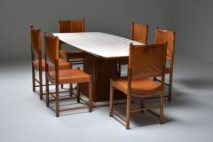 Italian Art Deco Dining Table with Marble Top Japan Inspired 1940s - 1999085