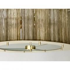 Italian Art Deco Style Crystal Smoked Murano Glass Round Flush Mount on Brass - 1140801