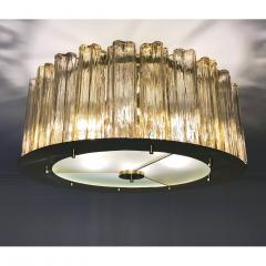 Italian Art Deco Style Crystal Smoked Murano Glass Round Flush Mount on Brass - 1140803