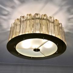 Italian Art Deco Style Crystal Smoked Murano Glass Round Flush Mount on Brass - 1140804