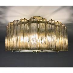 Italian Art Deco Style Crystal Smoked Murano Glass Round Flush Mount on Brass - 1140805