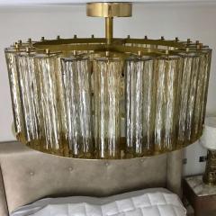 Italian Art Deco Style Crystal Smoked Murano Glass Round Flush Mount on Brass - 1140806