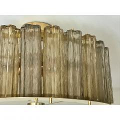 Italian Art Deco Style Crystal Smoked Murano Glass Round Flush Mount on Brass - 1140807