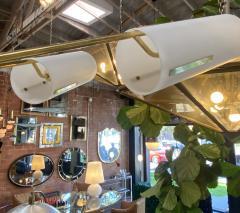 Italian Atomic Chandelier in Brass with Milk Glass Cylinders 1950s - 1279331